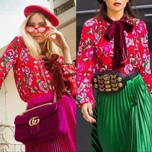 Zara Red Floral Printed Blouse with Velvet Bow